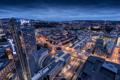 Oslo cityscape by night