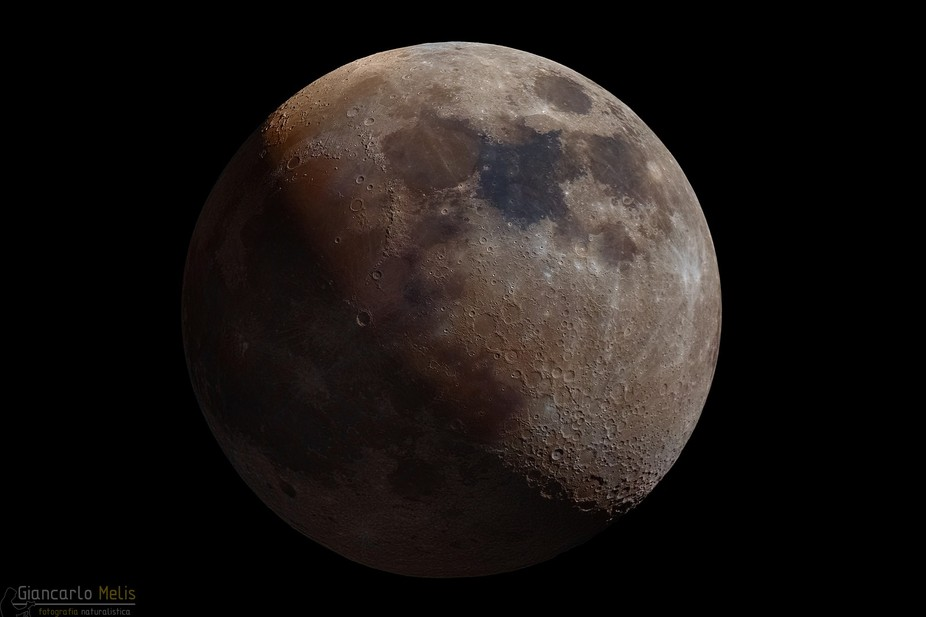 This is a mosaic of many moon shots. Details was taken with a special monochromatic camera, it&am...