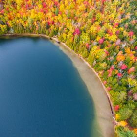 Bird eye view of Heart Lake in Autumn
