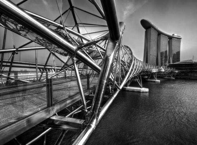 Helix Bridge Singapore by jpnjoe - Structures in Black and White Photo Contest