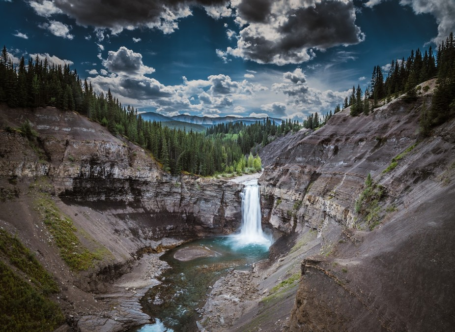I took this photo at the Ram River Falls in western Alberta.