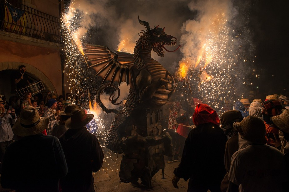 "The dragon from Torroella de Montgri Catalunya, during festivities "" Correfoc"" ..."