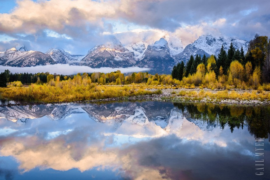 Early Morning Teton reflection in fall