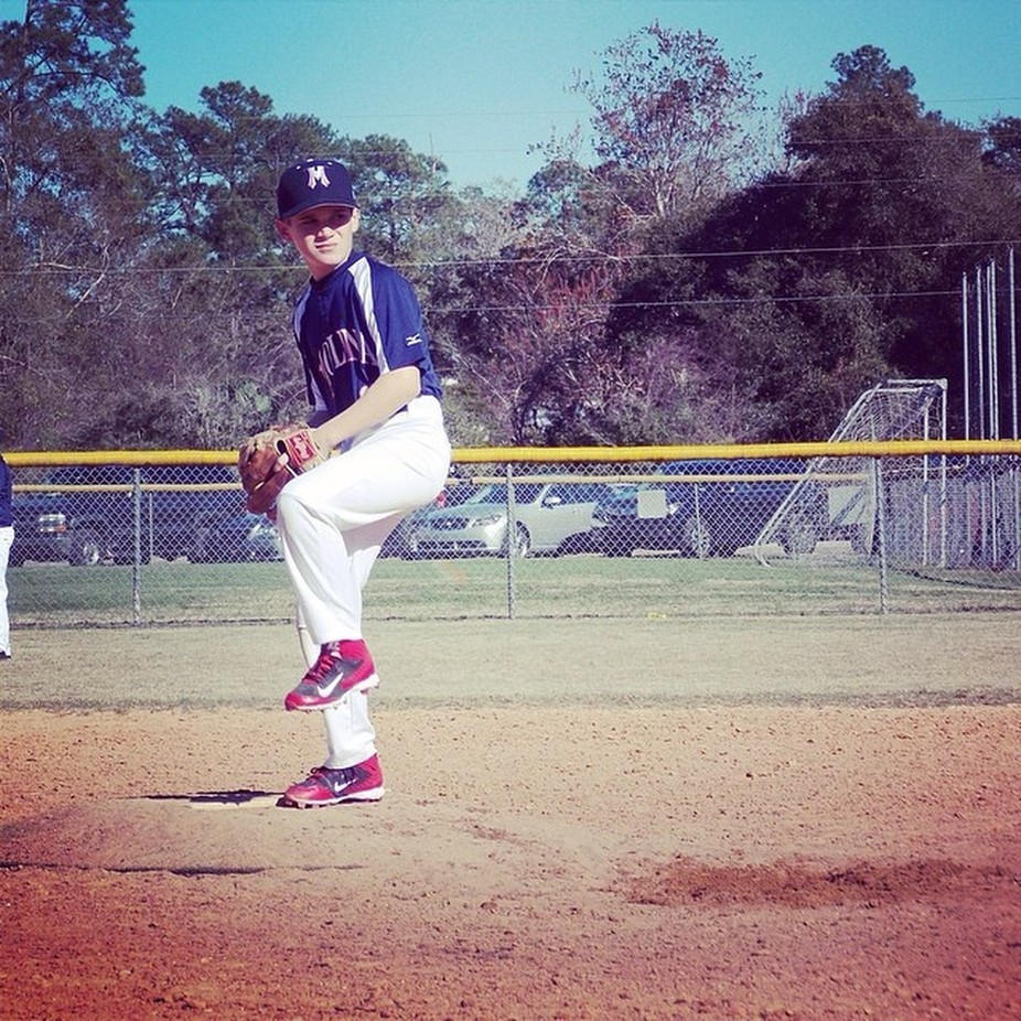 My little brother was pitching and I had to take a picture for him.