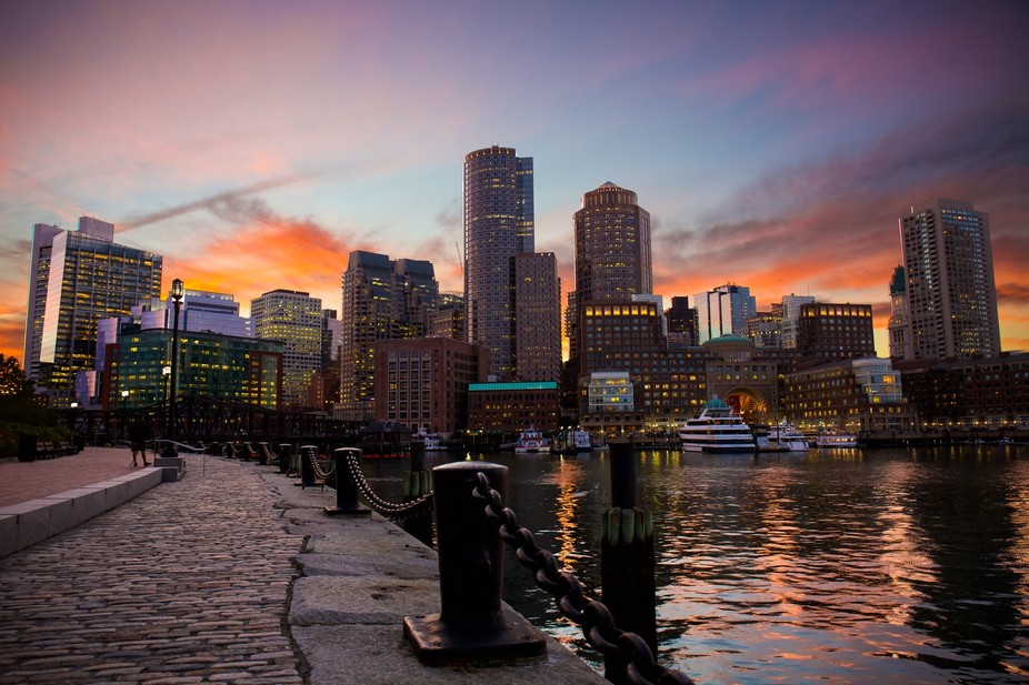 This is a sunset at Fan Pier Plaza in Boston!