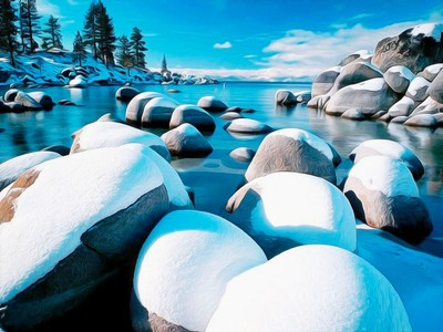 Lake Tahoe Snow on the rocks