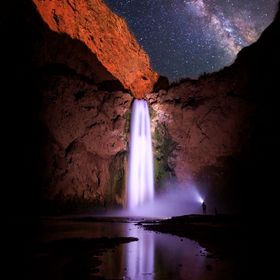 While hiking back from the Colorado River to our campsite we were surrounded by darkness. When we reached Mooney Falls, using a single a headlamp...
