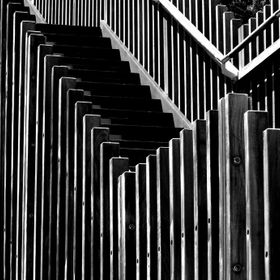 Black and White study of the stairs leading to Surfers Point in Western Australia.