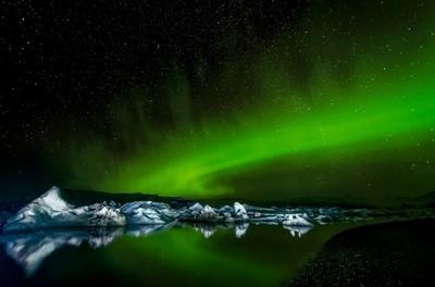Northern Light over Jökulsárlón Glacier Lagoon in Iceland