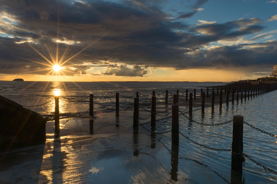 Beautiful sunset from Marine Lake in Weston-super-Mare, UK