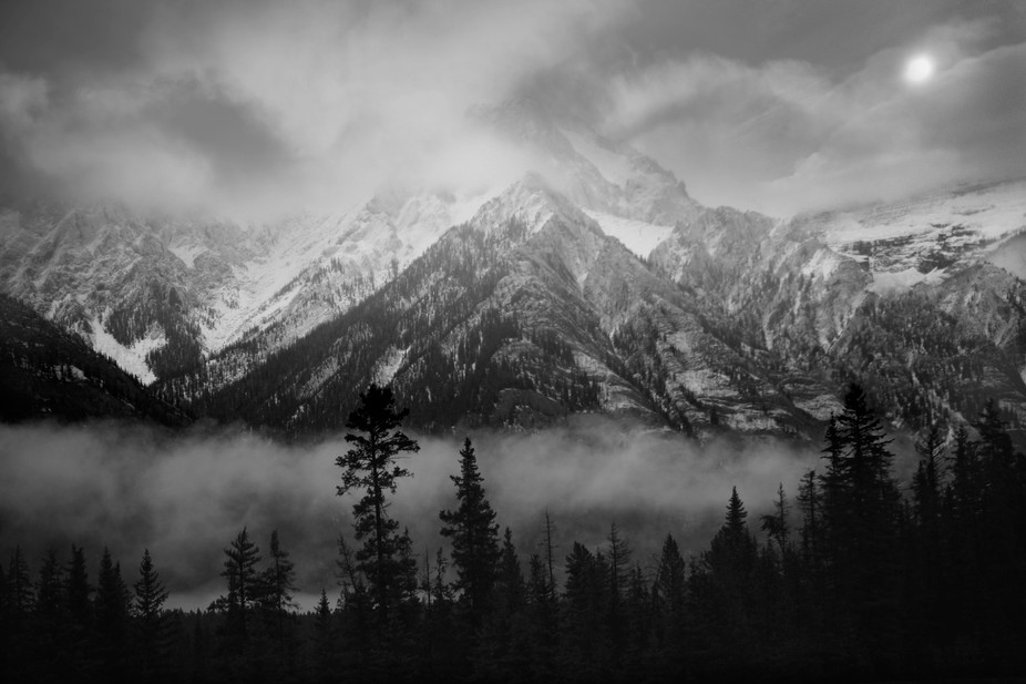 Early morning mist over the rocky mountains, October 2014.