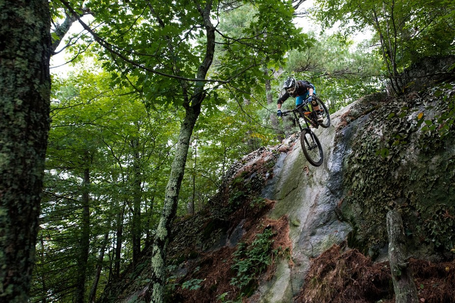 Audrey Vaillancourt and I went looking for nice feature to take photos at Highland Bike Park in s...