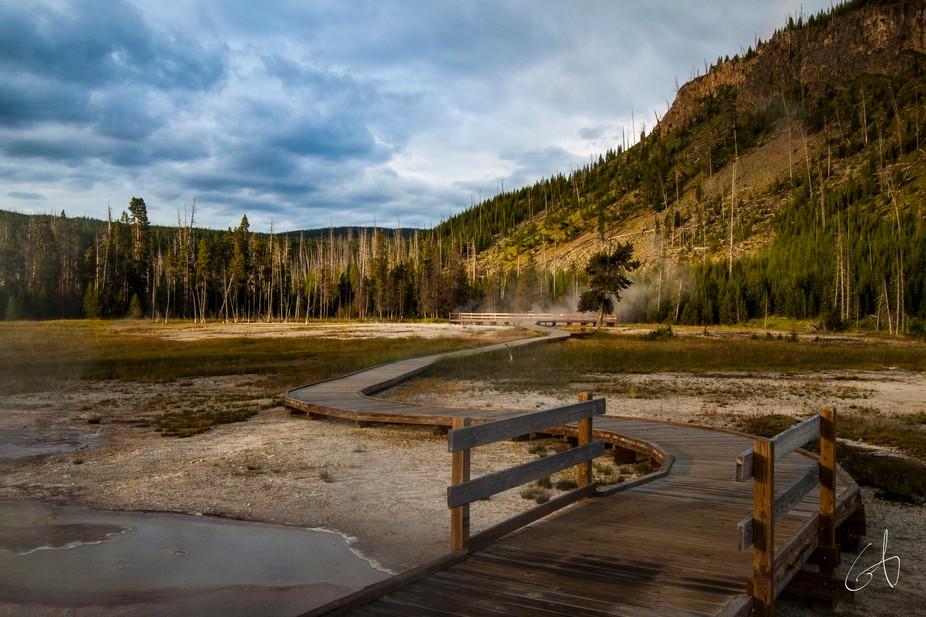 Beautiful sunrise Golden Hour at Yellowstone