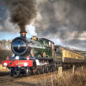 "Ex GWR 'Hall' class steam locomotive ""Rood Ashton Hall""."