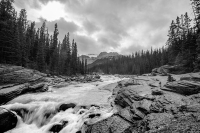 Raging River in Black and White