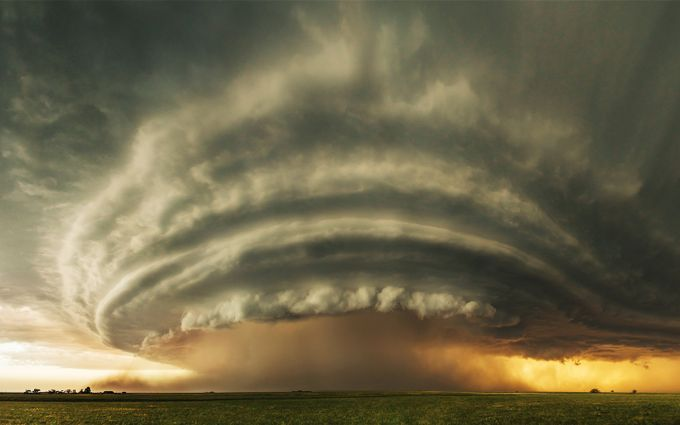 Supercell at sunset by saminaverhoeven - Clouds In Movement Photo Contest