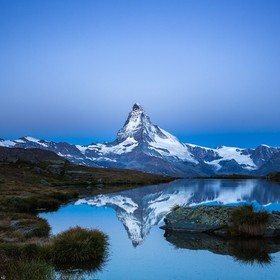 "Matterhorn viewed from ""Stellisee"" about 30 minutes before sunrise."