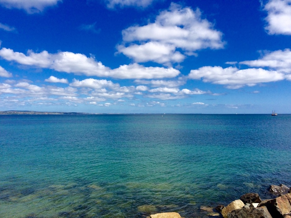 Crystal clear water and blue sky, perfect day for landscape photography