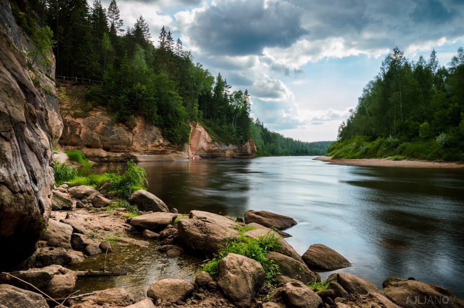 Gauja river in Latvia. Place is called Erglu Klintis or Eagles Rock in English.
