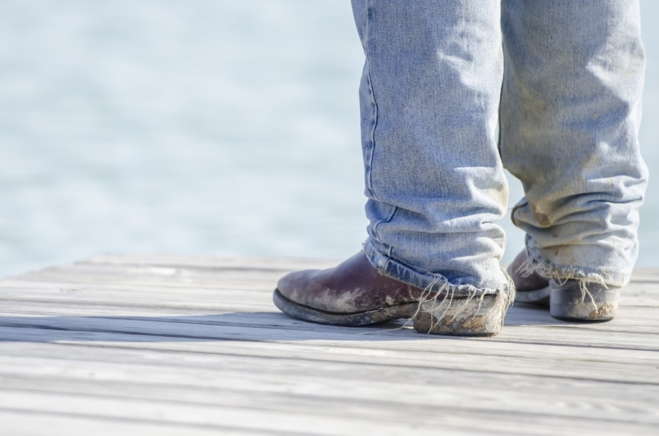 My grandson's boots while fishing.