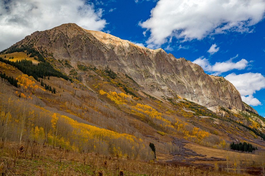 Fall colors surround Gothic Mountain near Crested Butte, Colorado.