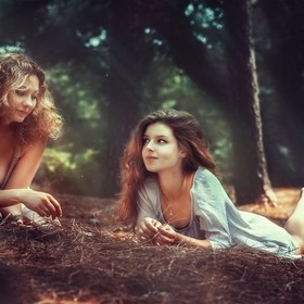 Young girls in the forest