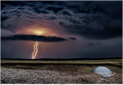 Lightning over Ginkelse Hei near Ede, Netherlands