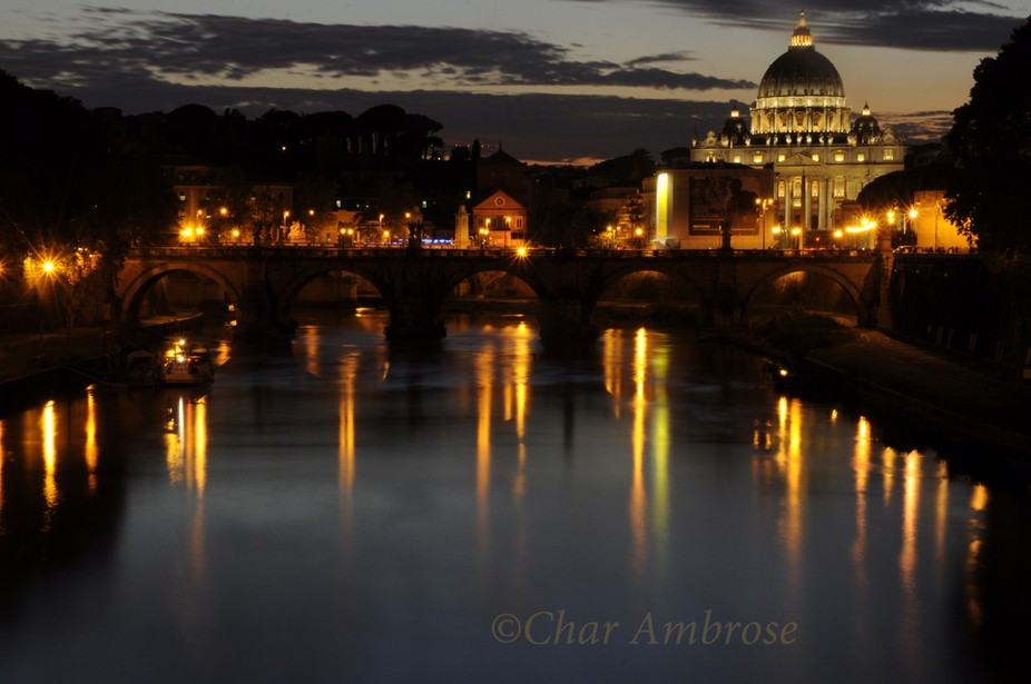 Taken just after sunset overlooking the Tiber and the Vatican.
