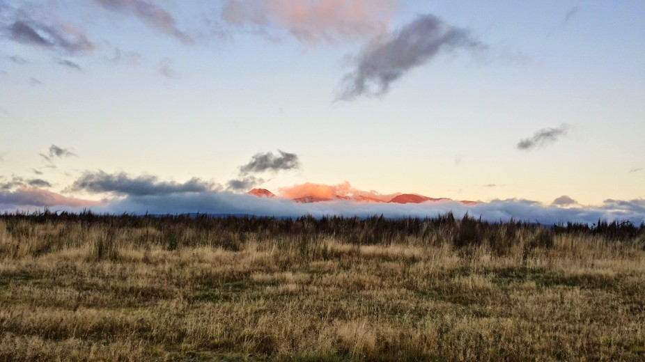 Early morning lights on the Tongariro Mountain, in NZ North Island