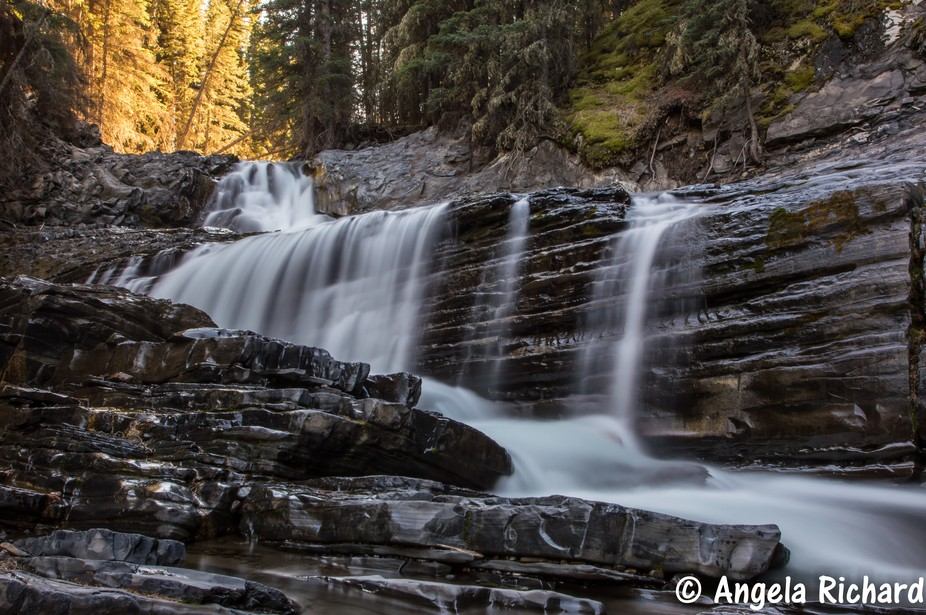 A hike along the creek to a surprise waterfall. Canmore/Kananaskis Country, AB