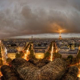 A grand view of Paris seen from the top of the Arch of Triumph. The weather was not very good for photography, but it was the only chance I had t...