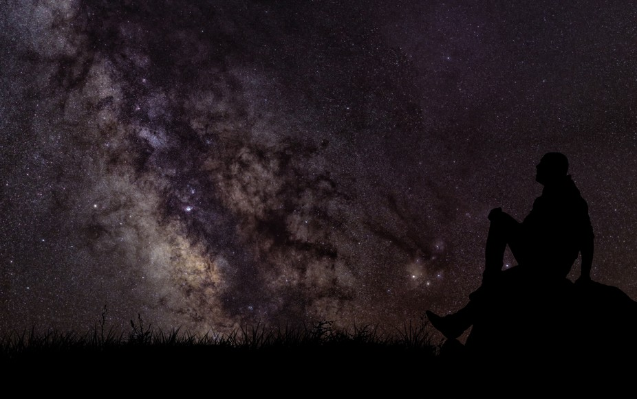 This is a double exposure, but this is what I usually do: enjoy the universe.  The Milky Way is t...