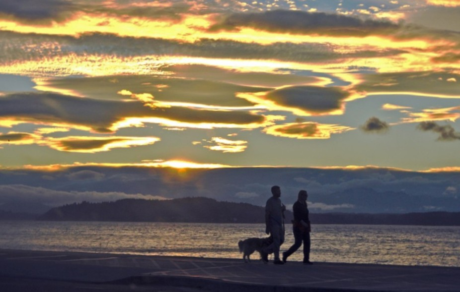 Couple walking their dog at sunset, by Alki beach