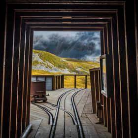 Looking out from the main mineshaft of the Independence Mine in Hatcher Pass, Alaska