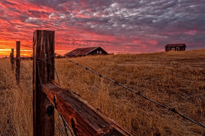 Sunset on the Farm by diversionphotography - Fences Photo Contest