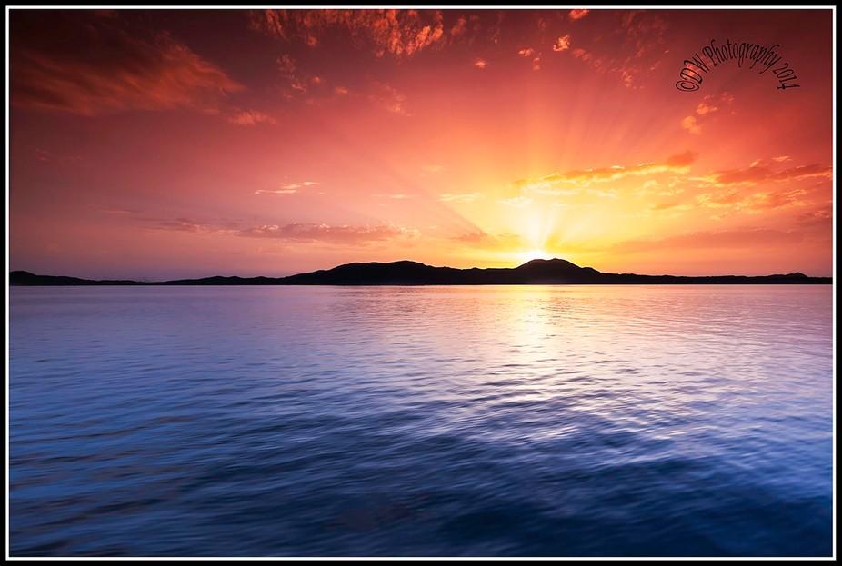 Evening sunset over corfu