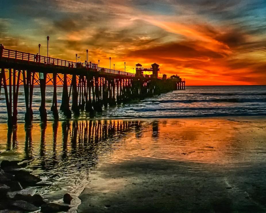 Sunset at Oceanside CA Pier