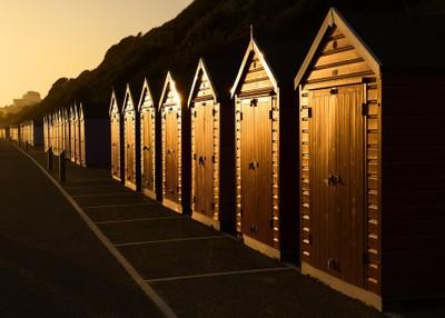 Beach Hut Sunset, Bournemouth, Dorset, England.