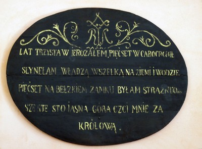 Words on Plaque beneath the Picture of The Black Madona