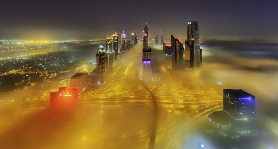 This image was taken at 3 am....it was really foggy that day...took this image from 53rd floor ro...