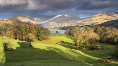 The Central Fells above Lake Windermere from Wray Castle, Cumbria, England