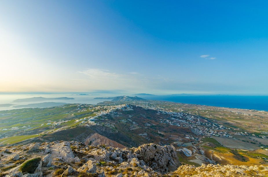 From the highest point in Santorini, you can see every city on the island.