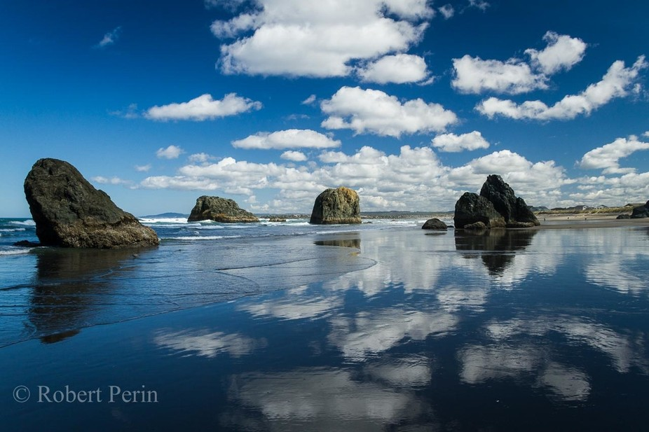 An absolutely beautiful day on the Oregon Coast.  The image was taken on the beach at Bandon, Ore...