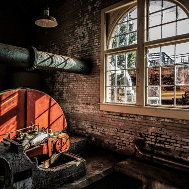 One of two large pumps inside the old Columbia, South Carolina water plant.  This building was flooded in October 2015 when South Carolina was hit with record rain amounts (20 inches in 24 hours in some places).  This photo was from early this year and I hope to photograph the old water plant again once they re-open the park.