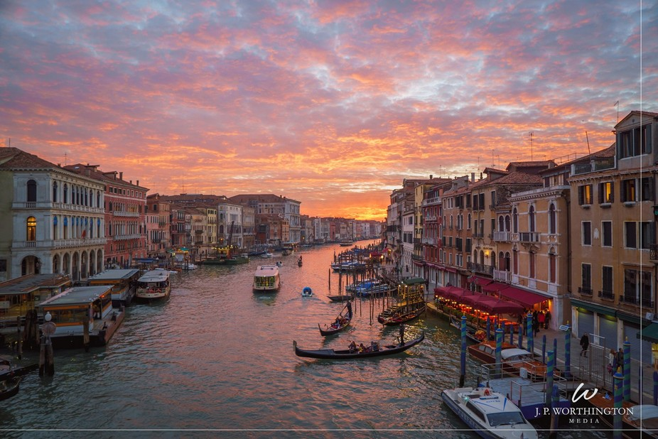 The canals of Venice under a spectacular sunset!