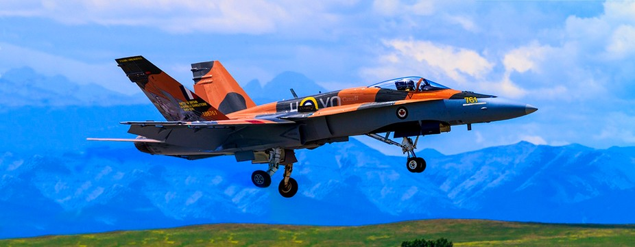 Royal Canadian Air Force CF-18 Hornet tactical fighter aircraft displaying flight agility at the ...