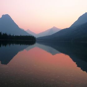 Smokey sunset on Two Medicine Lake in Glacier National Park at the height of this summer's fire season.