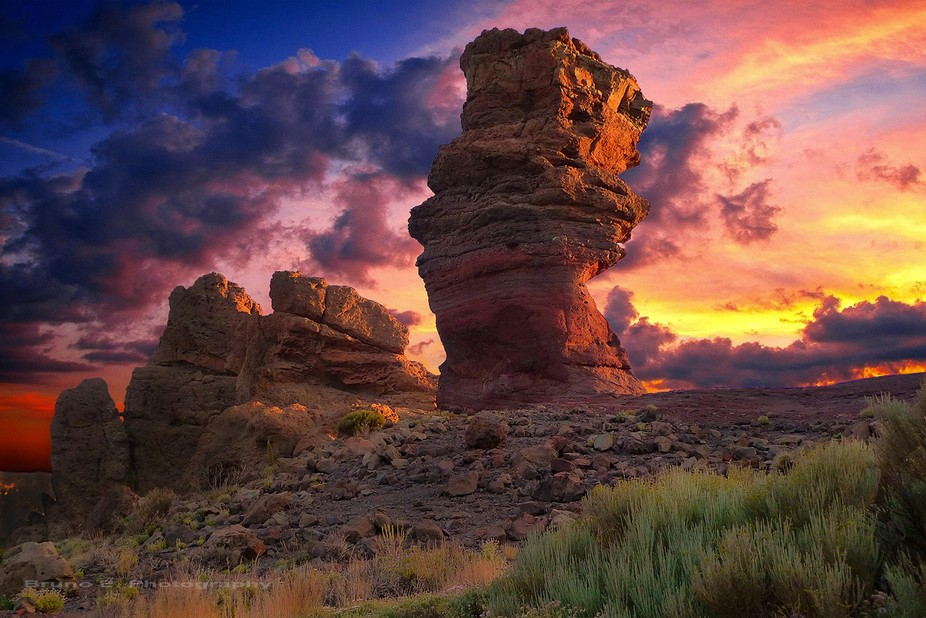 Sunset in park national of Teide (Tenerife Island)