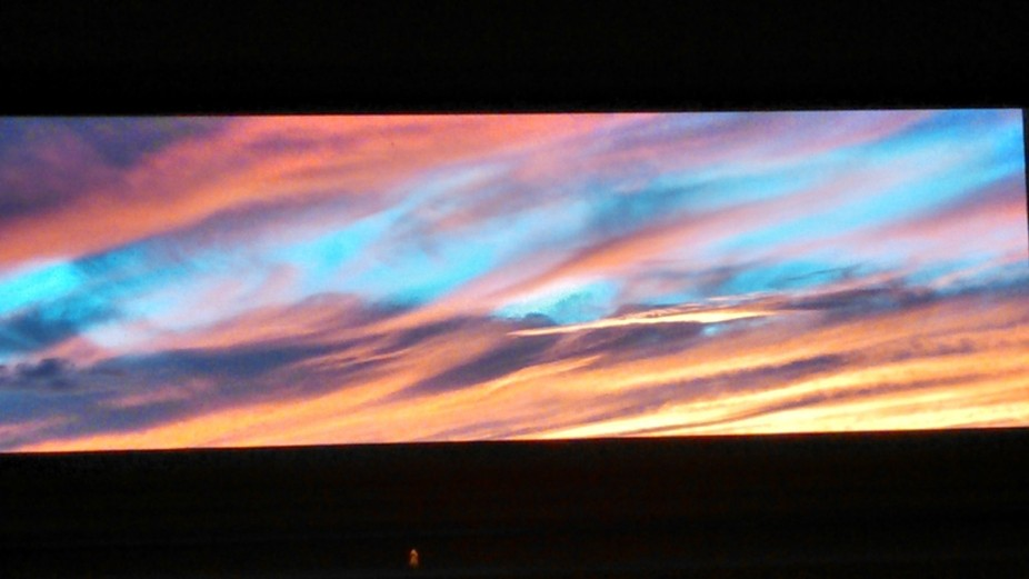 Minimalist Android Motorola Razor camera used to capture this sunset as seen within a home lookin...