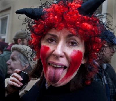Devil mask on Masopust in Prague